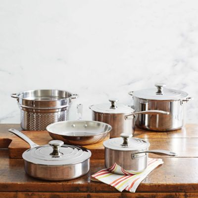 le creuset triply stainless steel 10piece cookware set