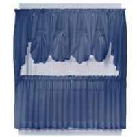 Emelia 24-Inch Sheer Window Curtain Tier Pair in Navy