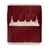 Emelia 30-Inch Sheer Window Curtain Tier Pair in Burgundy