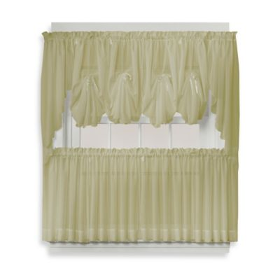 Emelia 40 Inch Fan Insert Sheer Window Curtain In Leaf