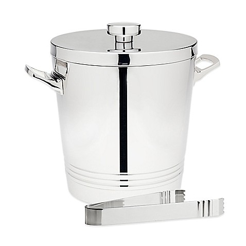 image of Top Shelf Silver Stainless Steel Double Wall Ice Bucket with Tongs