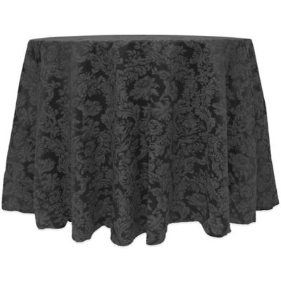Miranda Damask 90 Inch Round Tablecloth In Black