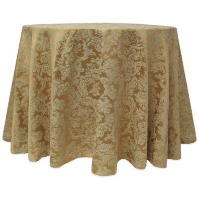 Elegant Miranda Damask 90 Inch Round Tablecloth In Dijon