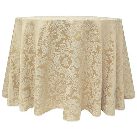 Buy Miranda Damask 90 Inch Round Tablecloth In Champagne
