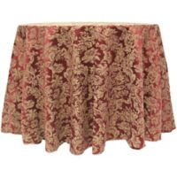 Miranda Damask 108-Inch Round Tablecloth in Bordeaux
