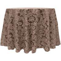 Miranda Damask 108-Inch Round Tablecloth in Chocolate