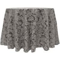 Miranda Damask 108-Inch Round Tablecloth in Pewter