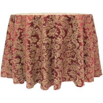 Miranda Damask 120 Inch Round Tablecloth In Purple