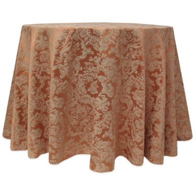 Miranda Damask 120 Inch Round Tablecloth In Brown