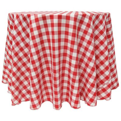 Gingham Poly Check 90 Inch Round Tablecloth In Red/White