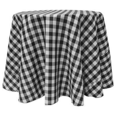 Gingham Poly Check 90 Inch Round Tablecloth In Black/White Part 93