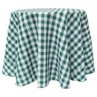 Gingham Poly Check 90-Inch Round Tablecloth in Teal/White