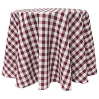 Gingham Poly Check 108-Inch Round Tablecloth in Burgundy/White