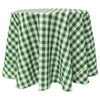Gingham Poly Check 108-Inch Round Tablecloth in Moss/White