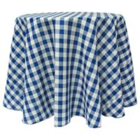 Gingham 120-Inch Round Tablecloth in Royal/White