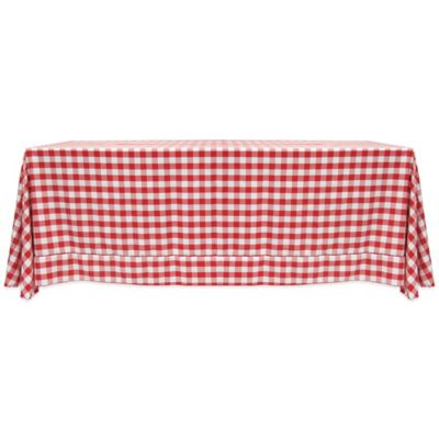Charmant Gingham Poly Check 72 Inch X 108 Inch Tablecloth In Red/White