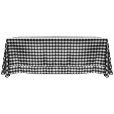 Gingham Poly Check 90 Inch X 156 Inch Oblong Tablecloth In Black/White
