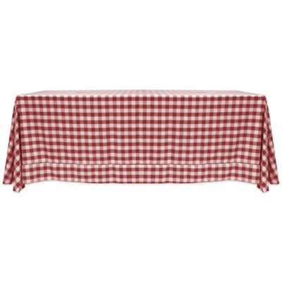 Gingham Poly Check 72 Inch X 108 Inch Tablecloth In Burgundy/White