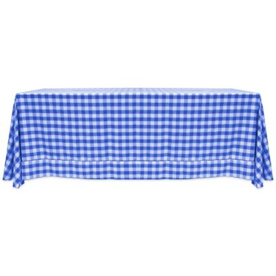 Gingham Poly Check 90 Inch X 156 Inch Oblong Tablecloth In Royal/White