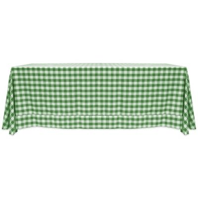 Gingham Poly Check 60 Inch X 90 Inch Tablecloth In Moss/White