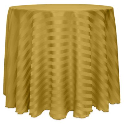 Poly Stripe 90 Inch Round Tablecloth In Gold