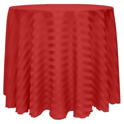 Poly Stripe 90 Inch Round Tablecloth In Red