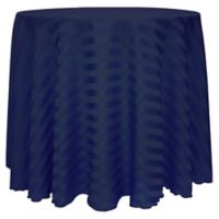 Poly-Stripe 90-Inch Round Tablecloth in Navy