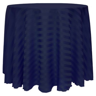 Poly Stripe 90 Inch Round Tablecloth In Wedgewood Blue