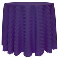 Poly-Stripe 90-Inch Round Tablecloth in Purple