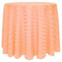Poly-Stripe 90-Inch Round Tablecloth in Peach