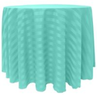 Poly-Stripe 90-Inch Round Tablecloth in Caribbean Blue