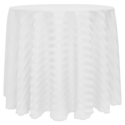 Poly Stripe 120 Inch Round Tablecloth In White