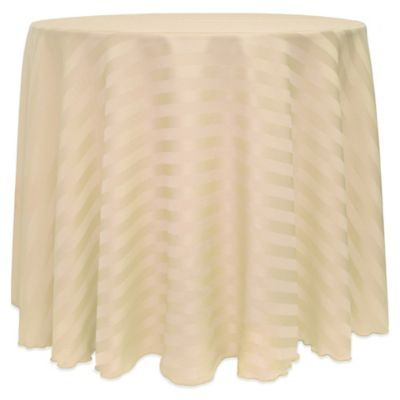 Superior Poly Stripe 120 Inch Round Tablecloth In Brown