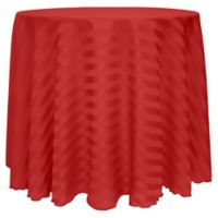 Poly-Stripe 120-Inch Round Tablecloth in Red