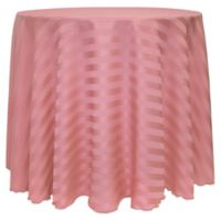 Poly-Stripe 120-Inch Round Tablecloth in Dusty Rose