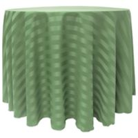 Poly-Stripe 120-Inch Round Tablecloth in Sage