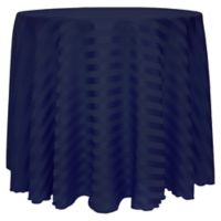 Poly-Stripe 120-Inch Round Tablecloth in Blue