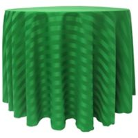 Poly-Stripe 120-Inch Round Tablecloth in Emerald