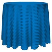 Poly-Stripe 120-Inch Round Tablecloth in Cobalt Blue