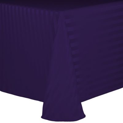 Poly Stripe 90 Inch X 132 Inch Oblong Tablecloth In Purple