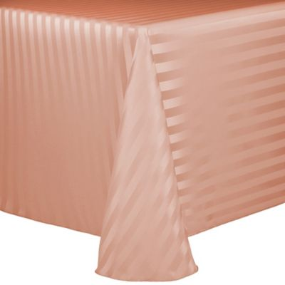 Delicieux Poly Stripe 90 Inch X 132 Inch Oblong Tablecloth In Peach