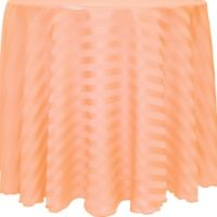 Poly-Stripe 132-Inch Round Tablecloth in Peach