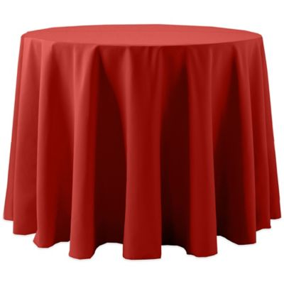 Spun Polyester 90 Inch Round Tablecloth In Red