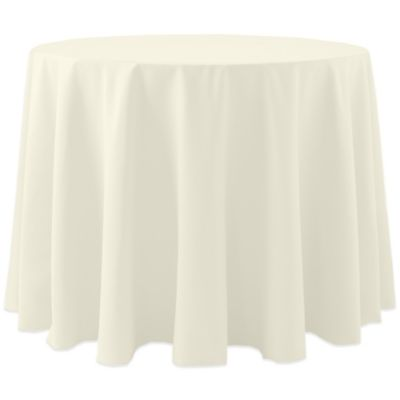 spun polyester 90inch round tablecloth in ivory