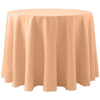 Bon Spun Polyester 90 Inch Round Tablecloth In Peach