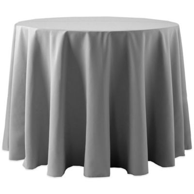 Charming Spun Polyester 90 Inch Round Tablecloth In Grey