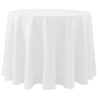 Spun Polyester 120 Inch Round Tablecloth In White