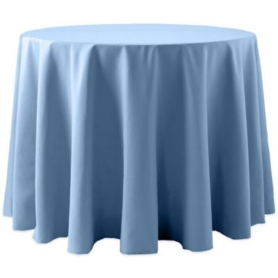 Spun Polyester132 Inch Round Tablecloth In Light Blue
