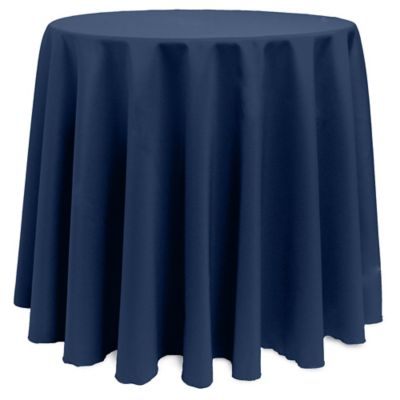 Great Basic Polyester 90 Inch Round Tablecloth In Midnight Navy