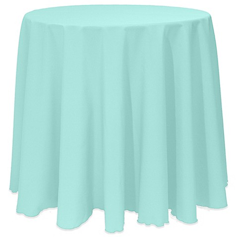 Buy Basic 90 Inch Round Tablecloth In Aqua From Bed Bath
